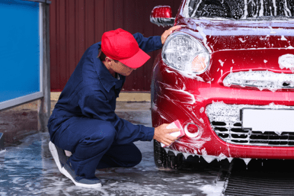 boy car washing