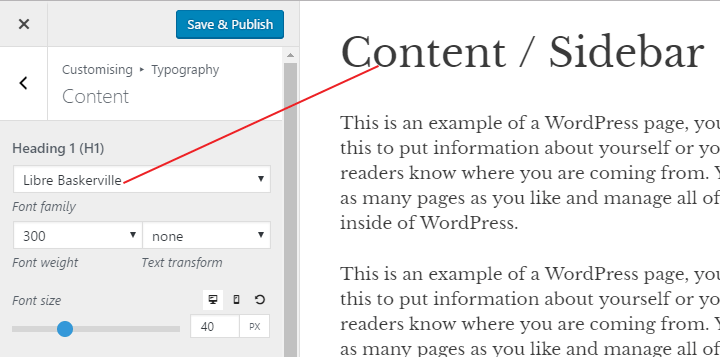 Customizing the typography using the Premium version of Generate press