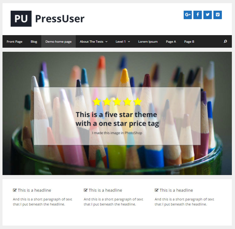 Screenshot of the free version of Generate Press theme