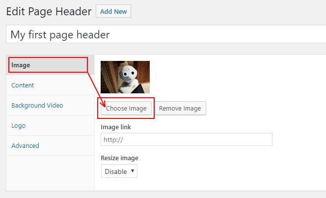 Page Header choose an image