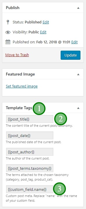The page header template tags