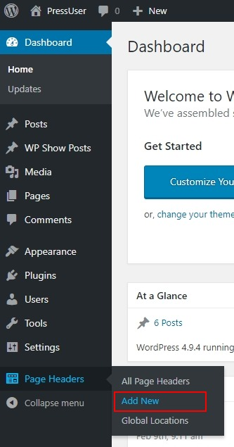 Go to Dashboard Page Headers Add New
