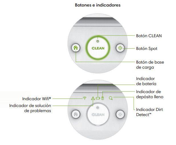 Roomba 980 botones e indicadores