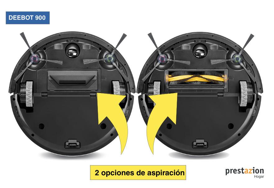 Ecovacs DEEBOT 900 Robot Aspirador, 67 Decibelios, Blanco - opciones de aspiracion