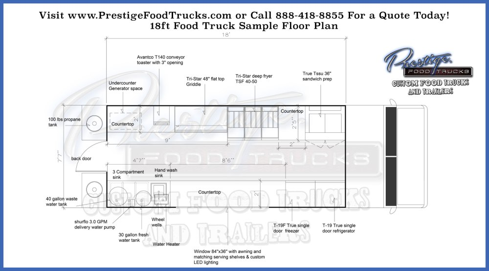 medium resolution of 18 4 foot food truck floor plan prestige