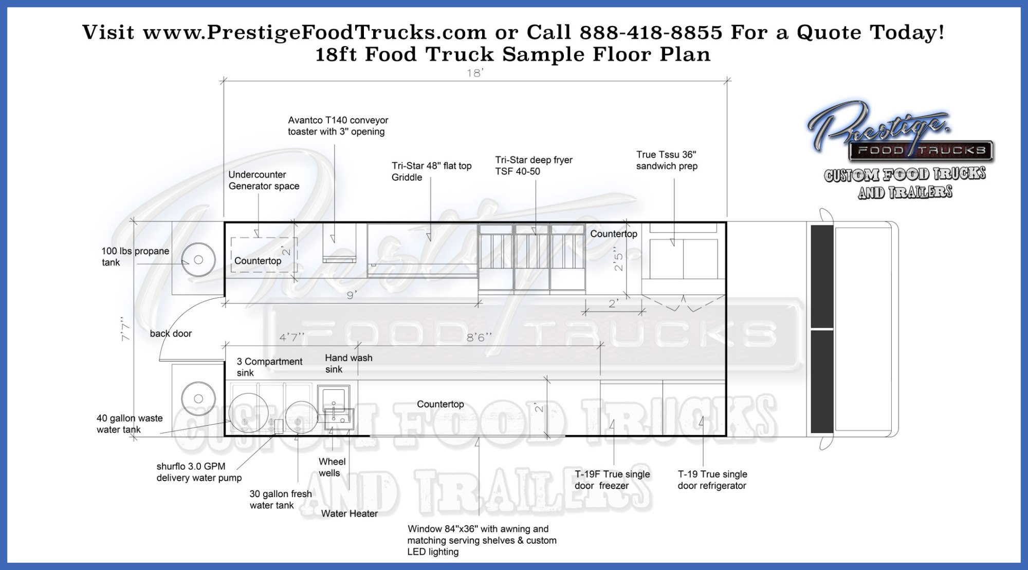 hight resolution of 18 4 foot food truck floor plan prestige