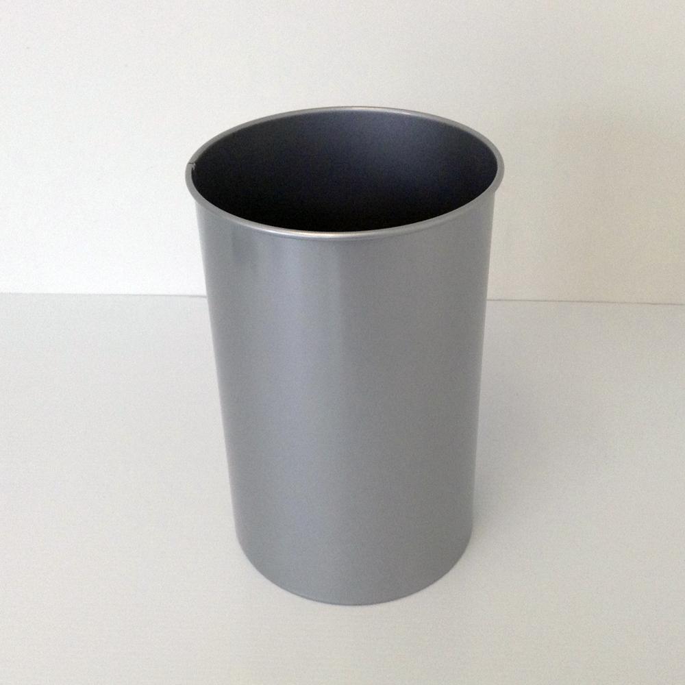 Decorative Steel Wastebasket with Clear Aluminum Finish