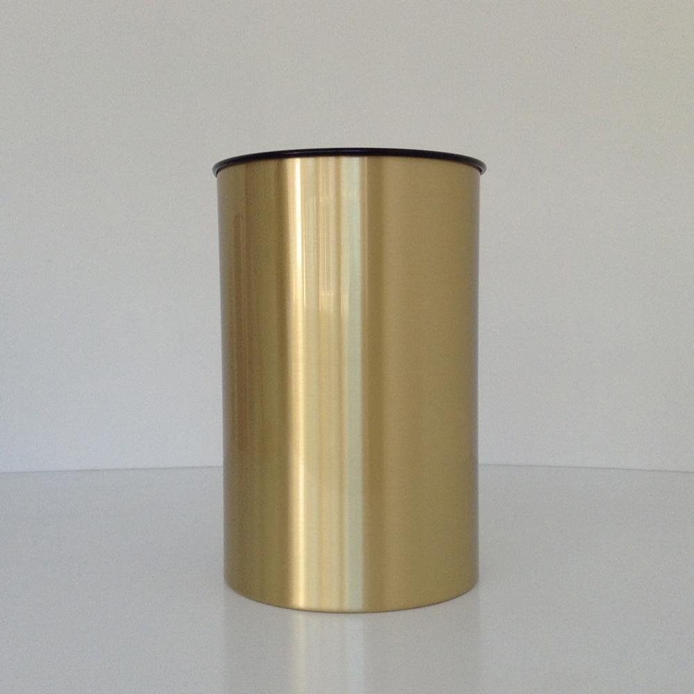 Brass Wastebasket with Satin Finish   Office   Prestige