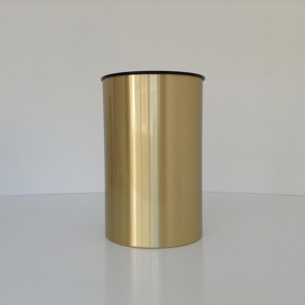 Satin Brass Decorative Wastebasket with Metal Liner  Prestige