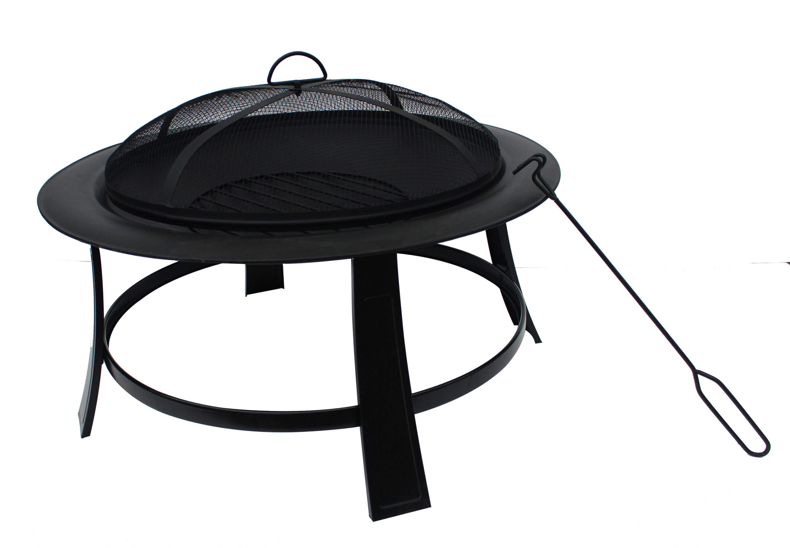 Nicole Miller Patio Portable 30 Inch Wood-Burning Foldable Fire Pit in Black Finish