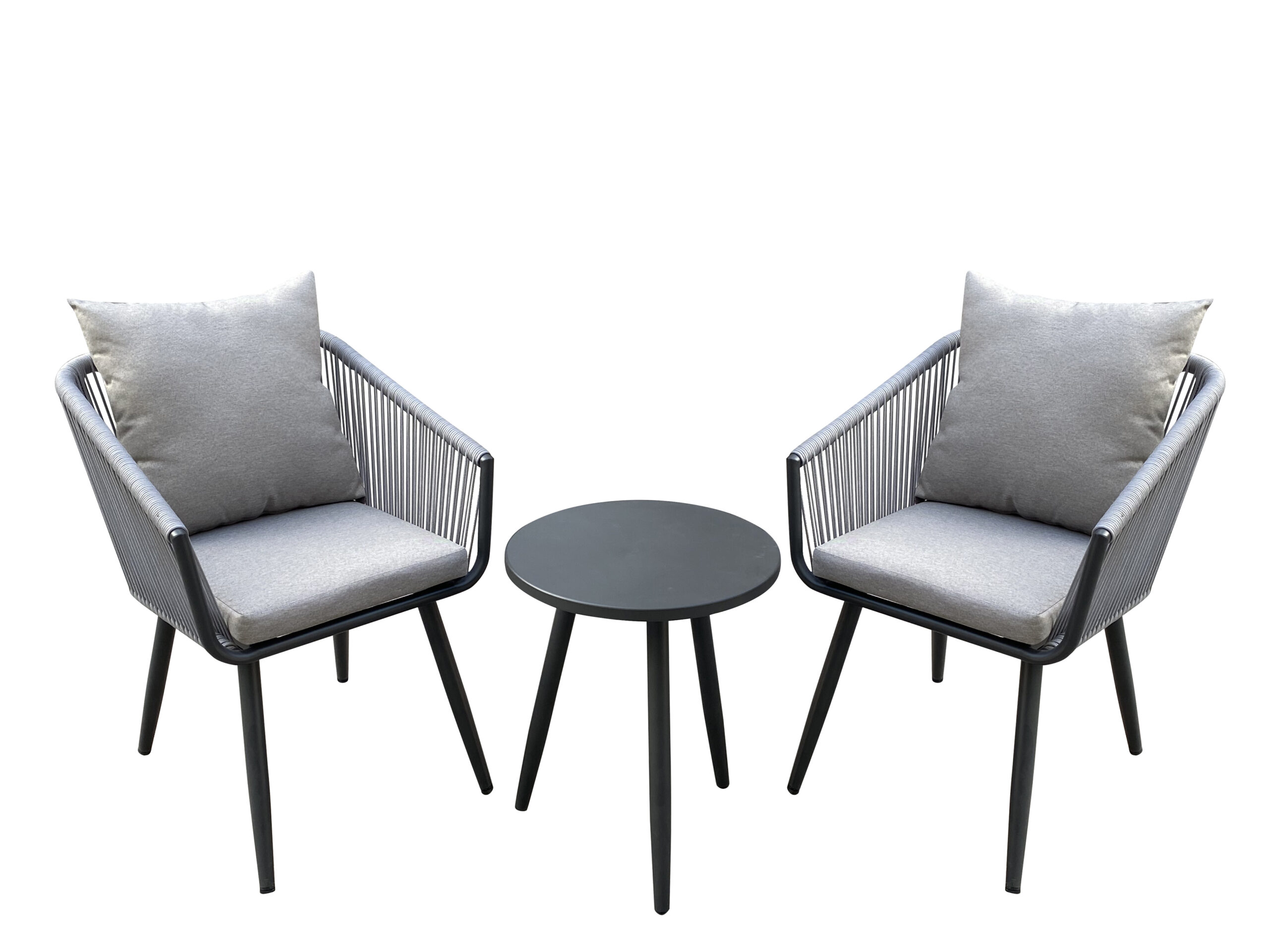 Nicole Miller Patio 3 Piece Outdoor Rope Chat Set with Cushions