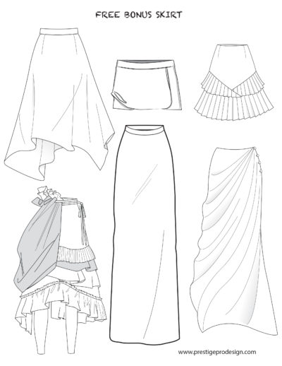 Flat Sketches of Skirts and Dresses for Women