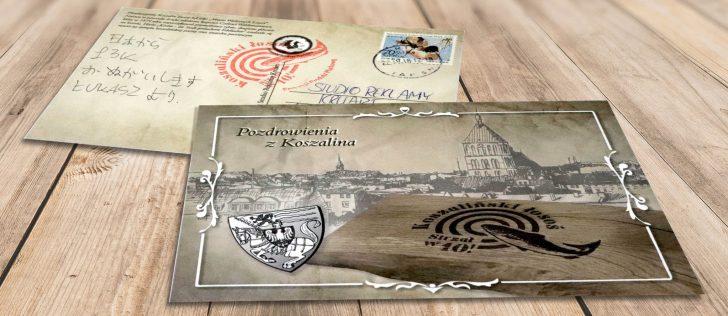 Okolicznościowa kartka pocztowa wydana w czasie akcji promującej koszalińskiego łososia w latach 2016-2017 (Archiwum Studia Reklamy Kruart).