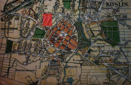 Plan Koszalina z 1912 r. W prostokącie zaznaczona lokalizacja Koesliner Aktien-Bierbrauerei a obecnie browaru Brok oraz Minibrowaru Kowal (Archiwum Studio Historycznego Huzar).