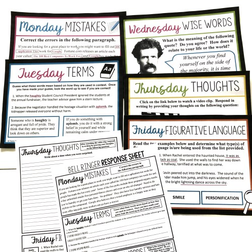 small resolution of 7 Bell Ringer Ideas For Middle \u0026 High School English - Presto Plans