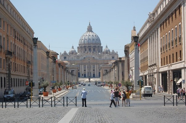 Picture of Vatican City, to support point about diminishing power in big corporations and institutions.