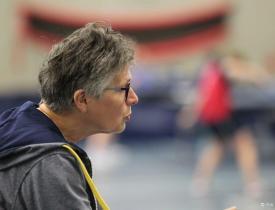 Juliet van Veen met aandacht voor haar trainingsgroep