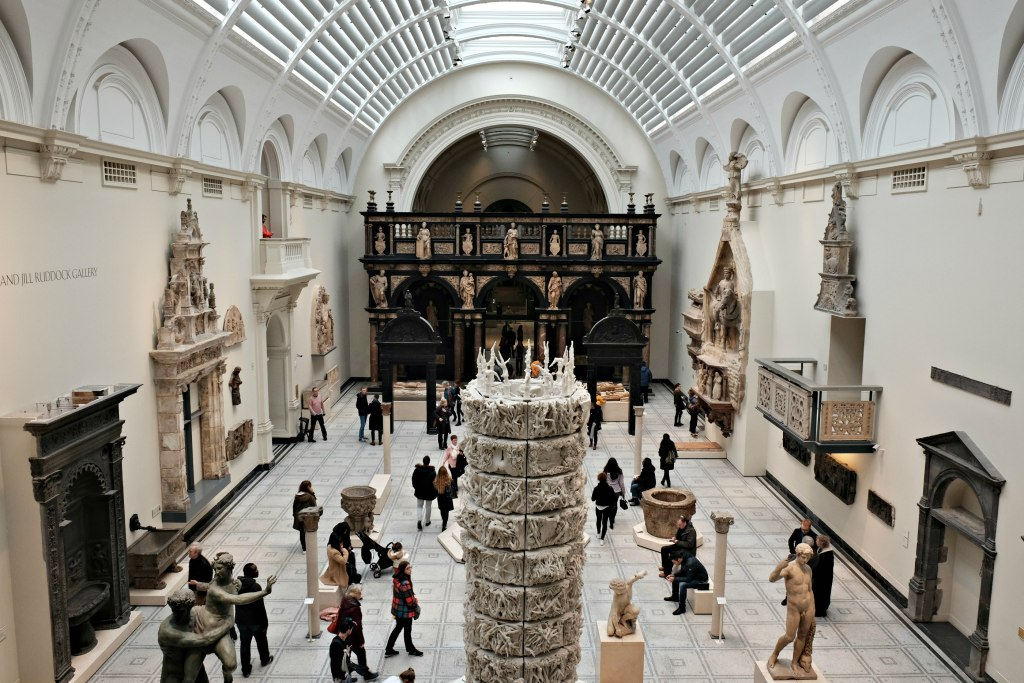 Picture of the interior of the V&A museam gallary with glass roof.