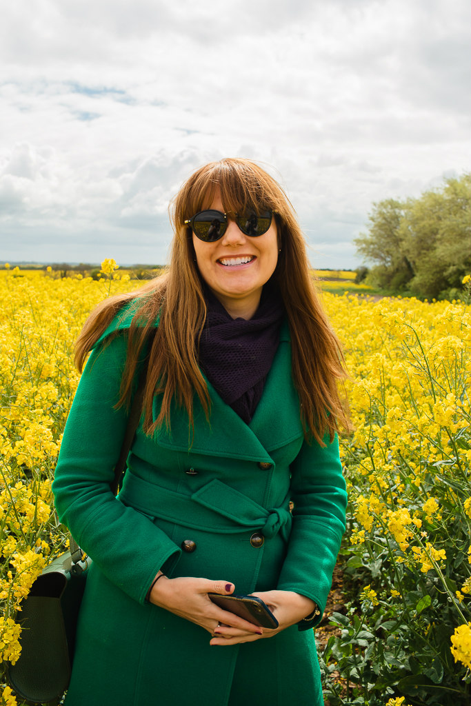 Photograph of me walking through a rapeseed oil flower field.  So you are childfree post.