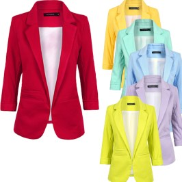 Blazer-women-2015-autumn-Candy-Color-Rolled-up-Sleeve-Boyfriend-Style-no-buckle-blazer-feminino-Slim