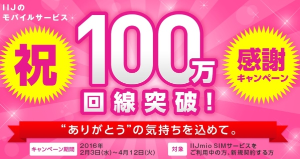 IIJmioの100万回線突破キャンペーン応募