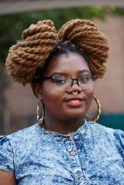 black women double bun hairstyles