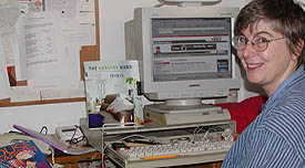 Jackie Craven at her very old computer