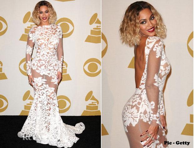 Beyonce White Sheer Dress Grammys 2014