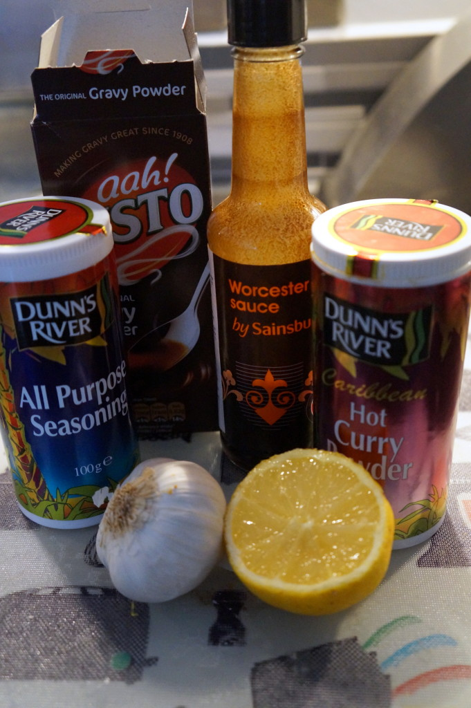 The basic ingredients - minus the meat and stock.