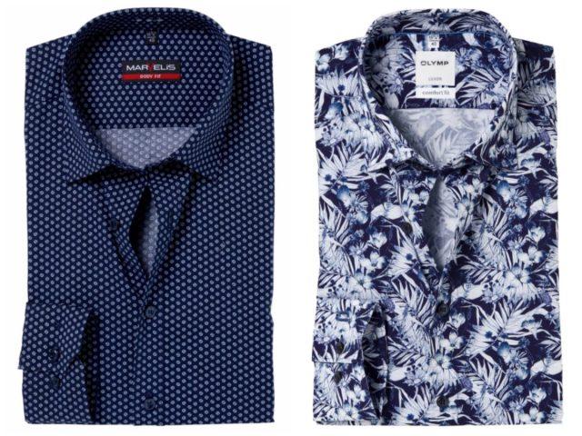 Donkerblauw overhemd met print