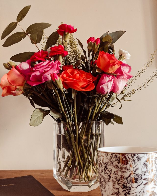 Flowers from Bloom and Wild, neatly arranged