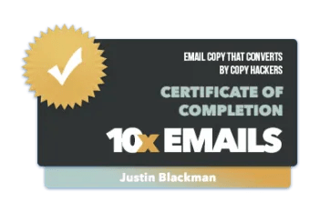 10x emails badge