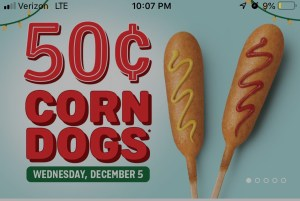 sonic 50 cent corn dog