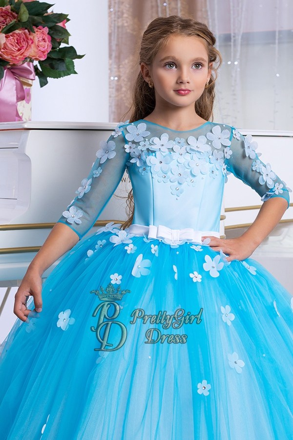Turquoise Flower Girl Dress - Abelin