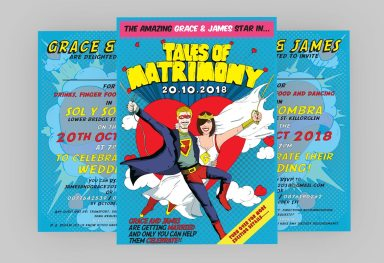 Wedding Invitation Retro Comic Book Style
