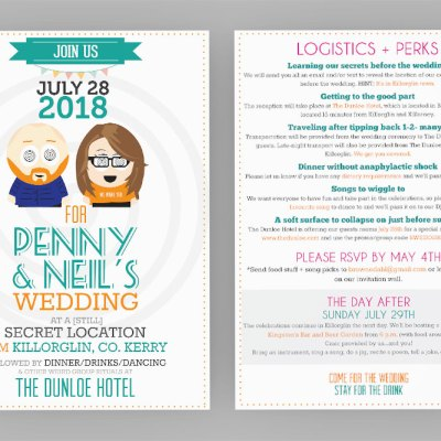 Neil and Penny wedding invitation