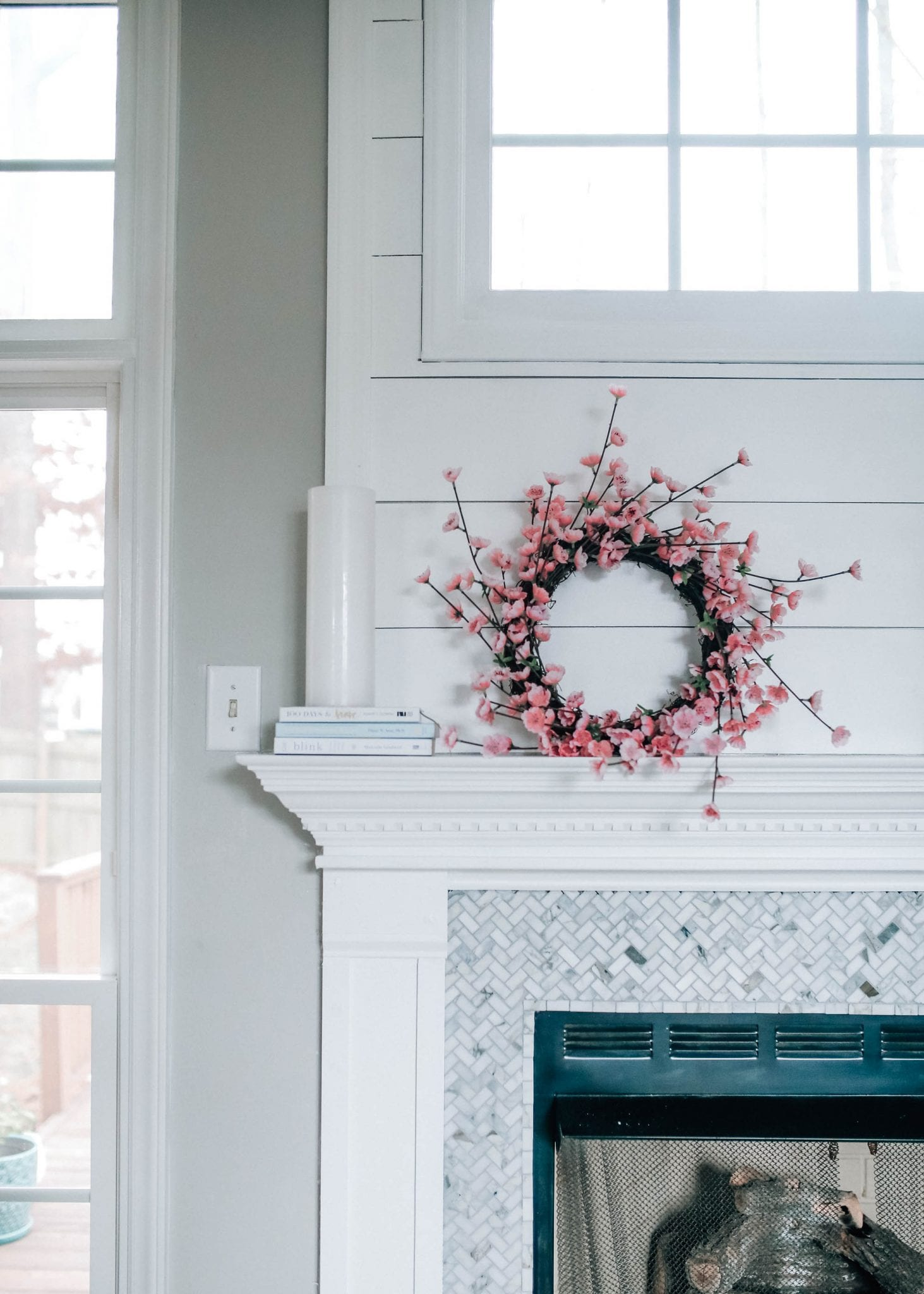 fireplace makeover reveal with the home