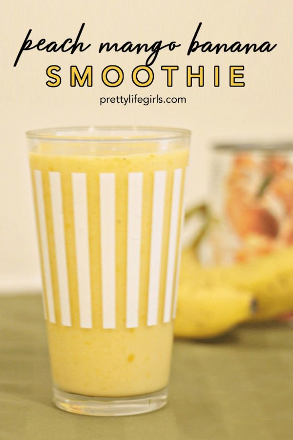 Peach Mango Banana Smoothie Recipe featured by top US food blog, The Pretty Life Girls