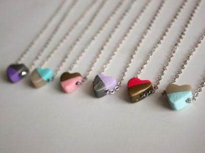DIY Hand-Painted Clay Heart Necklaces