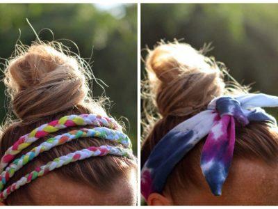 DIY Tie-Dyed T-Shirt Headbands
