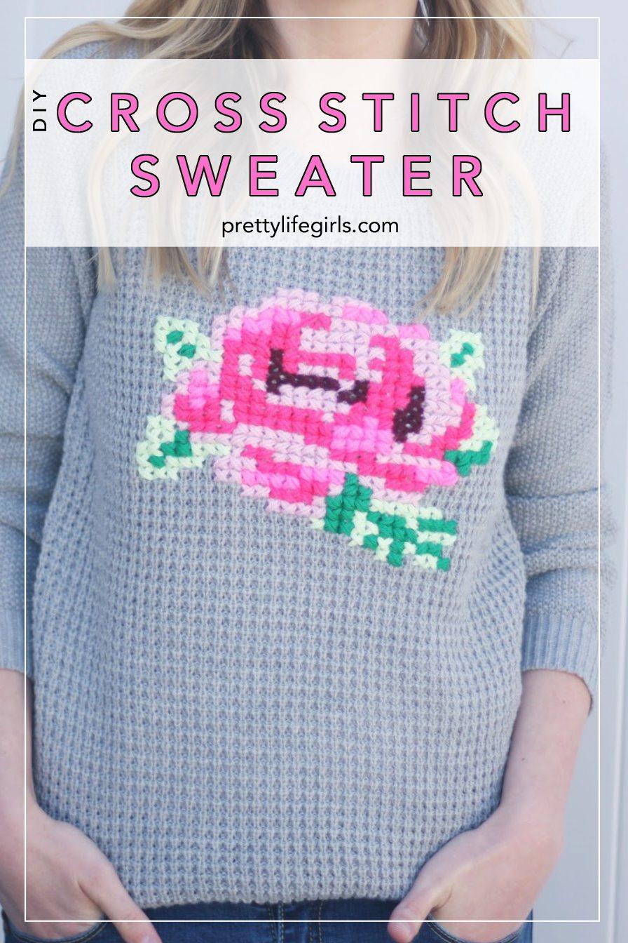 add1877d021239 DIY Cross-Stitch Sweater - The Pretty Life Girls