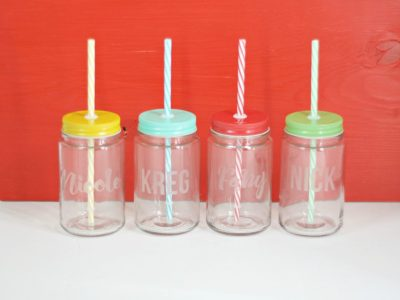 DIY Etched Jar Drinking Glasses