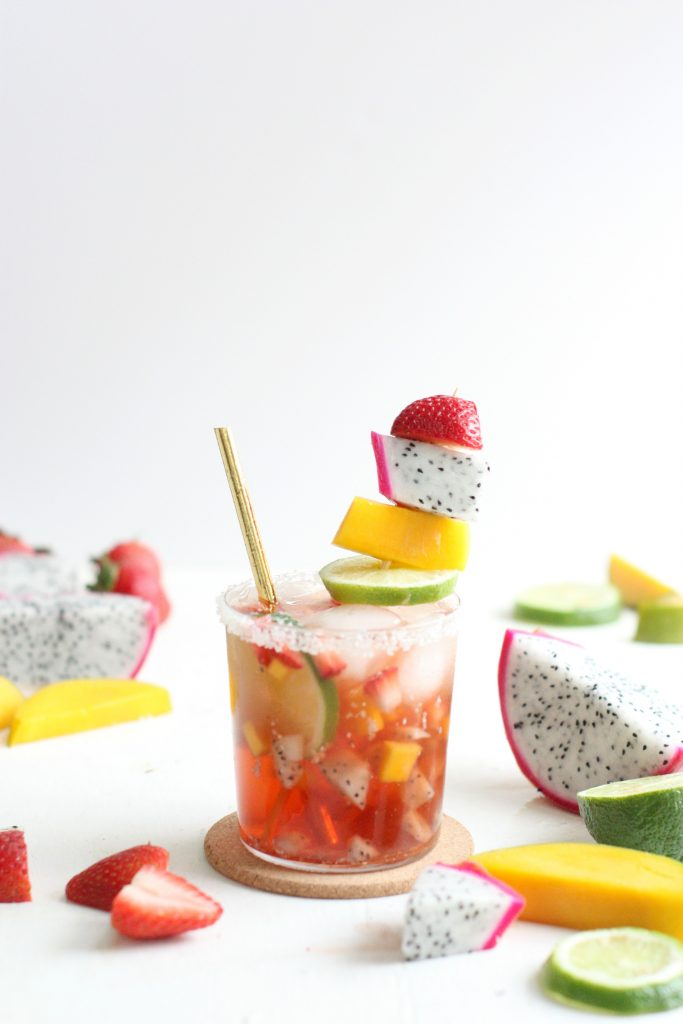 Tropical mocktail recipe featured by top US food blog, The Pretty life Girls.