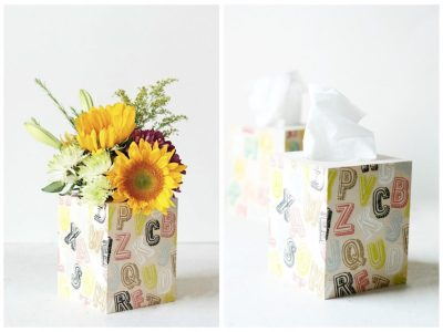 Stenciled Alphabet Boxes (that double as a vase and tissue box!)