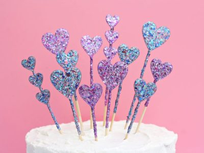 DIY Glitter Heart Cake Toppers