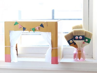 DIY Paint Brush Puppets + Puppet Theater for Kids!
