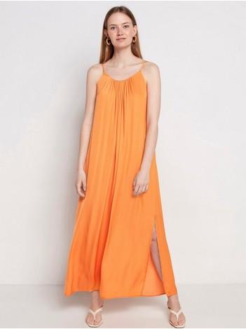 Saténové šaty značky Lindex s dvojitými špagetovými ramienkami