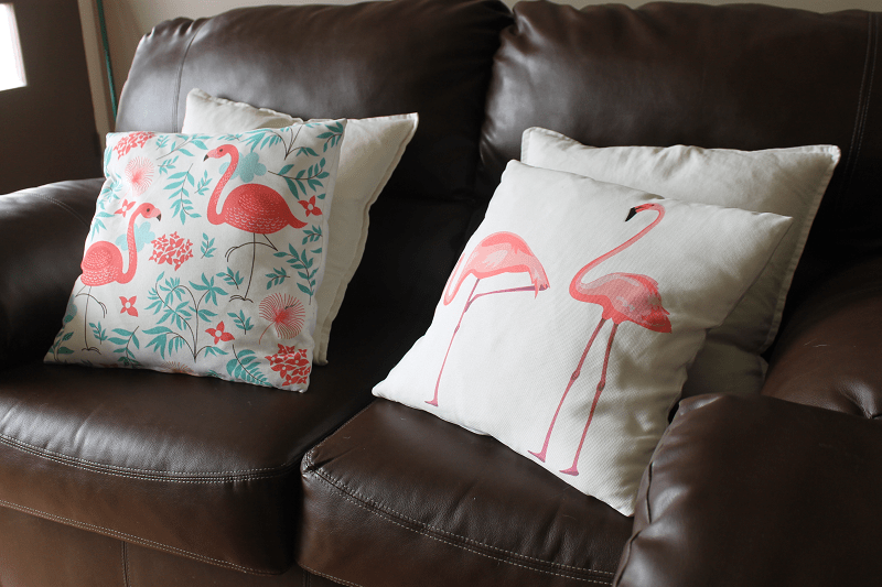 Flamingo Pillow Cases on Couch