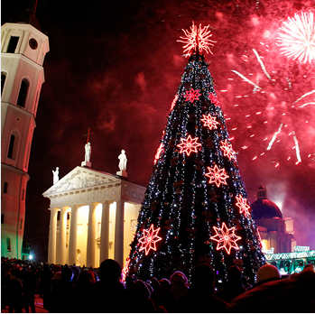 Christmas Tree On A Cathedral Square In Vilnius