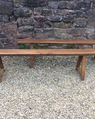 Twin 18th century tavern benches